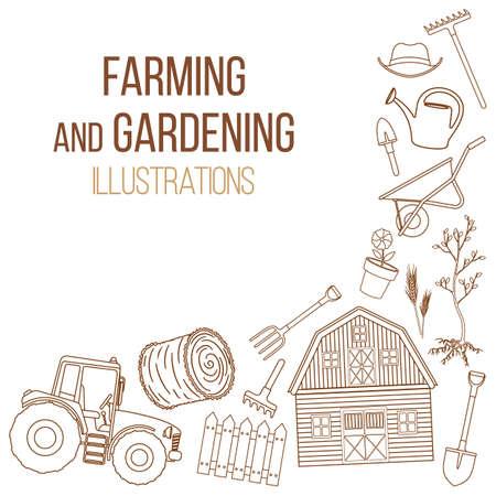 labranza: Conjunto de iconos de liine de equipos agrícolas. Herramientas agrícolas y decoración de máquinas agrícolas. Vector Vectores