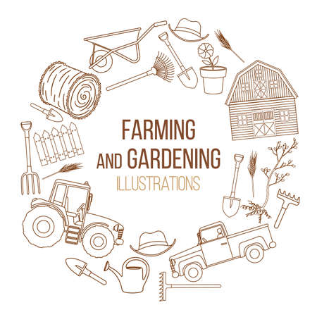 tillage: Set of farming equipment liine icons. Farming tools and agricultural machines decoration. Vector Illustration