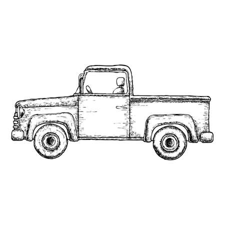ピックアップ トラックのイラストをスケッチします。農業車両。ベクトル  イラスト・ベクター素材