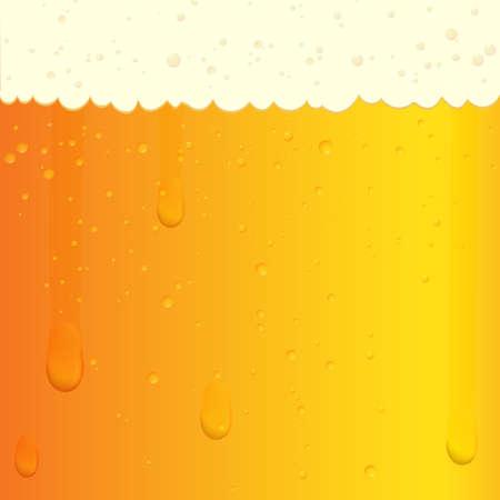 泡および泡とビールのテクスチャのイラスト。冷たいビールとグラス。ベクトル