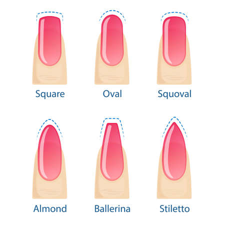 Nail manicure, set of nails shapes - oval, square, almond, stiletto, ballerina squoval Vector Illustration