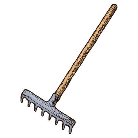 Garden tool and farming instrument - garden rake. Farming equipment. Vector