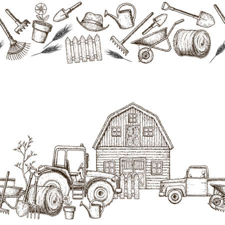 tillage: Seamless horizontal borders of farming equipment icons. Farming tools and agricultural machines decoration. Vector