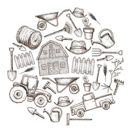 Set of farming equipment icons. Farming tools and agricultural machines decoration, sketch illustration. Vector