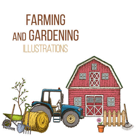 labranza: Set of farming equipment icons. Farming tools and agricultural machines decoration, sketch illustration. Vector