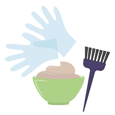 Hair dye tools on white background, cartoon illustration. Vector