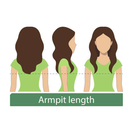 Haarlengte voor haircuts en kapsels - oksel lengte. Vector.