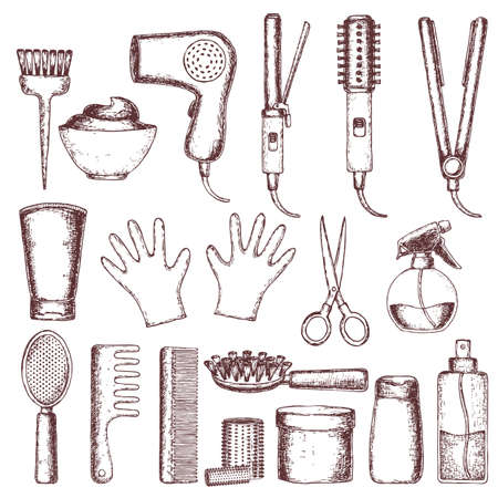 grooming: Set of sketch equipments for styling and hair care. Products and tools for home remedies of hair care. Vector Illustration