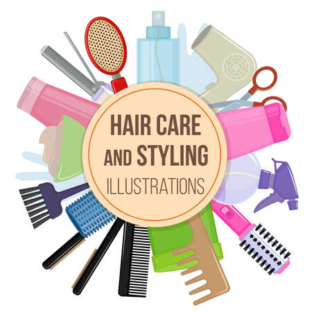 Set of colorful equipments for styling and hair care. Products and tools for home remedies of hair care. Vector Illustration