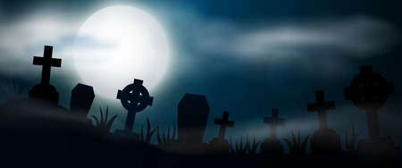 Night cemetery, crosses, tombstones and graves, horizontal banner. Colorful scary Halloween illustration. Vector Illustration