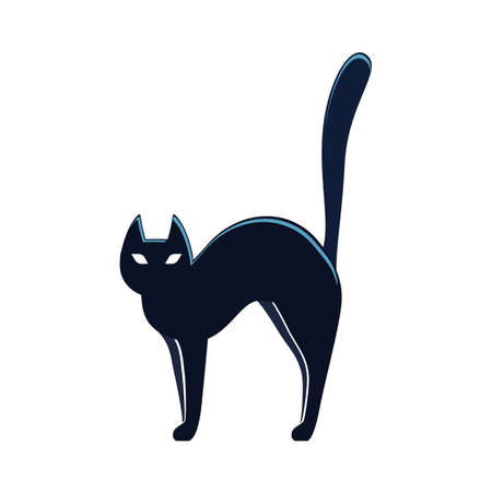 Black cat, colorful scary Halloween illustration. Vector