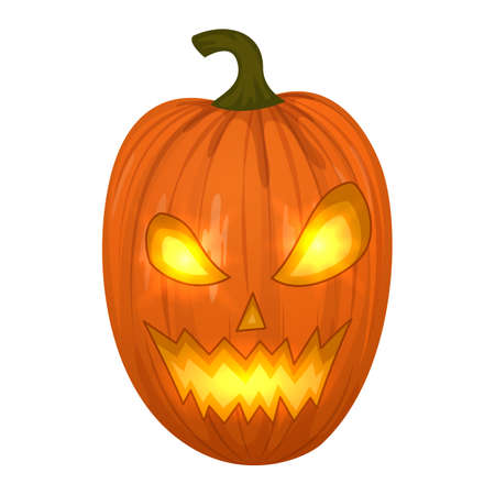 Carved Halloween pumpkins, colorful scary Halloween illustration. Vector