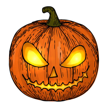Carved Halloween pumpkins, colorful scary Halloween sketch illustration. Vector