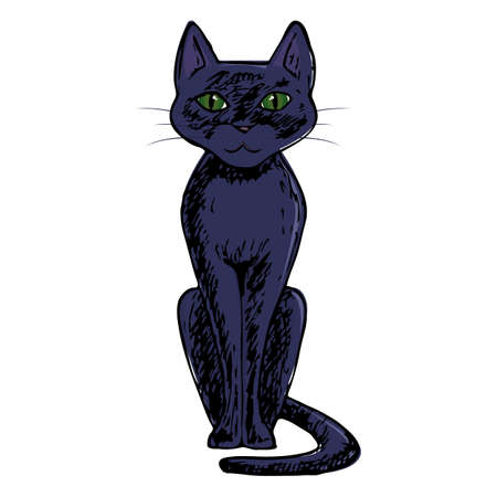 silueta de gato: Black cat, scary Halloween sketch illustration. Vector