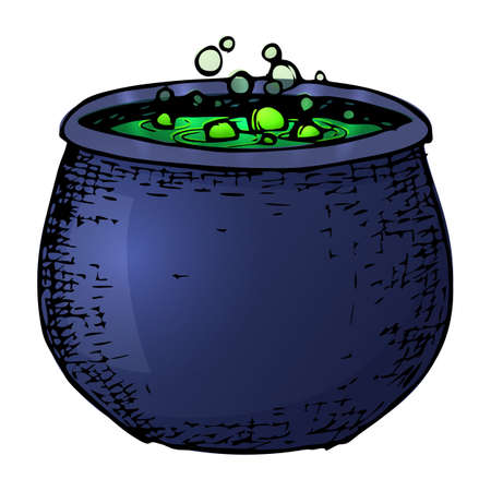 Witch cauldron with potion, colorful scary Halloween sketch illustration. Vector