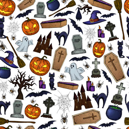 silueta de gato: Seamless background of Halloween icons for decoration. Colorful scary Halloween sketch illustration. Vector