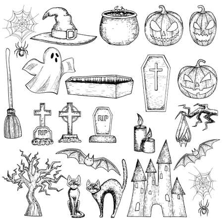 silueta de gato: Set of Halloween icons for decoration. Scary Halloween sketch illustration. Vector