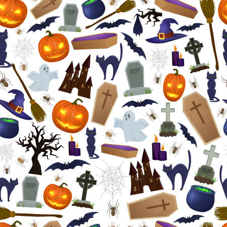 silueta de gato: Seamless background of Halloween icons for decoration. Colorful scary Halloween illustration. Vector