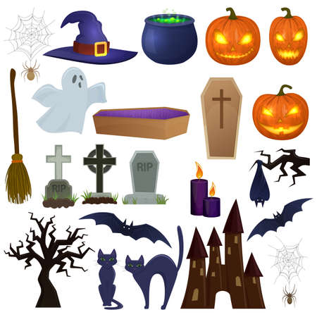 silueta de gato: Set of Halloween icons for decoration. Colorful scary Halloween illustration. Vector