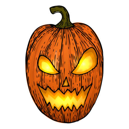 Carved Halloween pumpkins, colorful scary Halloween sketch illustration. Vector Stock Vector - 87518034