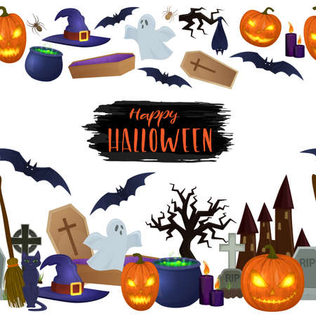 Seamless horizontal borders of Halloween icons for decoration. Colorful scary Halloween illustration. Vector