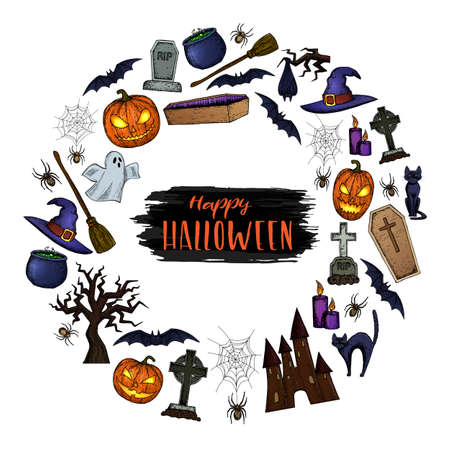 Set of Halloween icons for decoration. Colorful scary Halloween sketch illustration. Vector