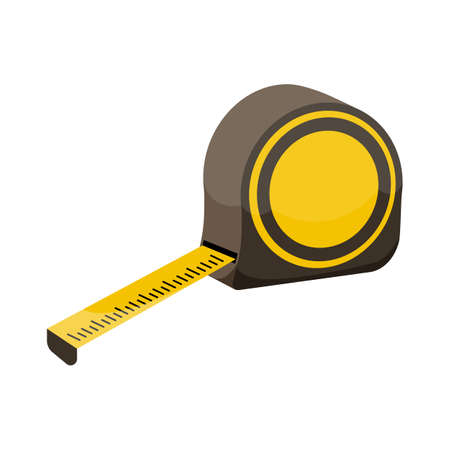 Measuring roulette on white background, cartoon illustration of repair tool. Vector