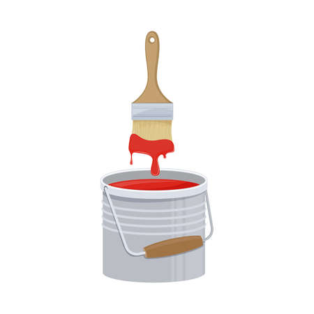 Bucket with paint and brush on white background, cartoon illustration of repair tool. Vector
