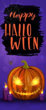 Carved Halloween pumpkins, vertical banner. Colorful scary Halloween illustration. Vector Illustration