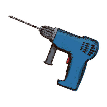 Drill on white background, colorful sketch illustration of repair tool. Vector