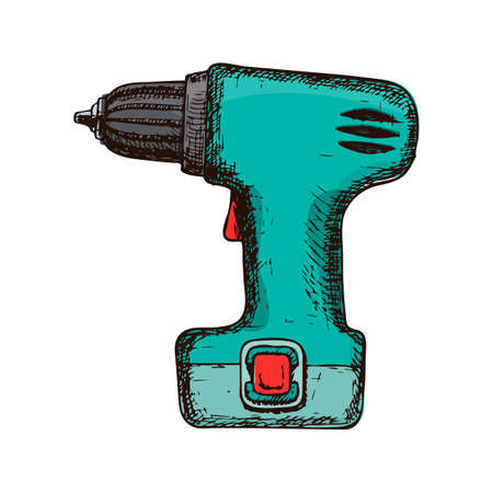 Electric screwdriver on white background, colorful sketch illustration of repair tool. Vector