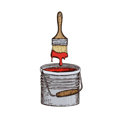 to trickle: Bucket with paint and brush Illustration