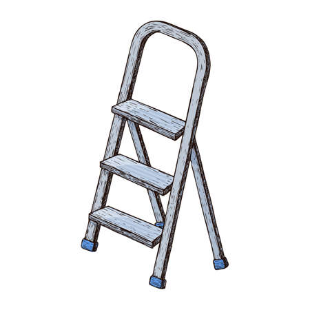 Stepladder on white background, colorful sketch illustration of repair tool. Vector