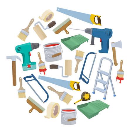Set Gebäudereparaturwerkzeuge.
