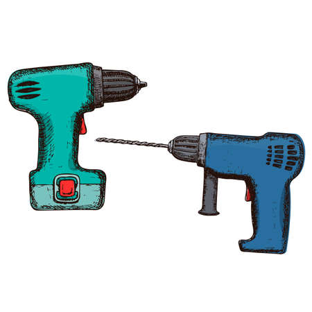 Drill and electric screwdriver sketch. Illustration