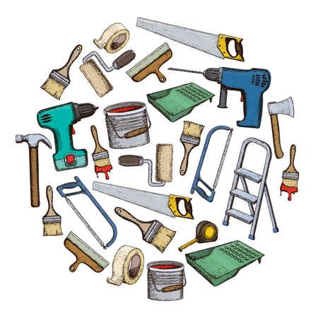 Set of building repair tools. Illustration