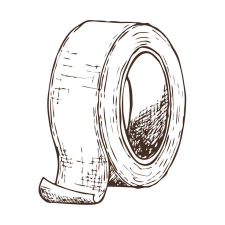 Roll of masking tape on white background, cartoon illustration of repair tool. Vector