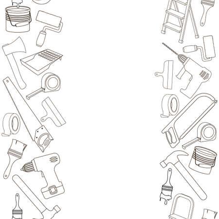 Naadloze verticale randen van de hulpmiddelen van de de bouwreparatie, de illustratie van het lijnbeeldverhaal van reparatiehulpmiddelen. Vector