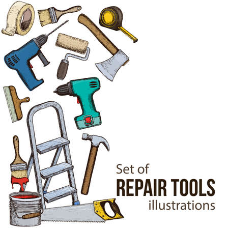 Satz Gebäudereparaturwerkzeuge, bunte Skizzenillustration des Reparaturwerkzeugs. Vektor