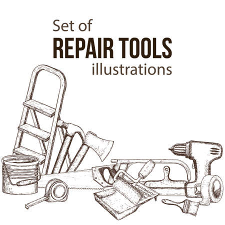 Set of building repair tools, sketch illustration of repair tool. Vector