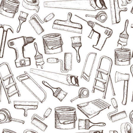 Building repair tools, sketch illustration pattern design print.
