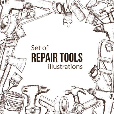 Reeks hulpmiddelen van de de bouwreparatie, schetsillustratie van reparatiehulpmiddel. Vector Vector Illustratie