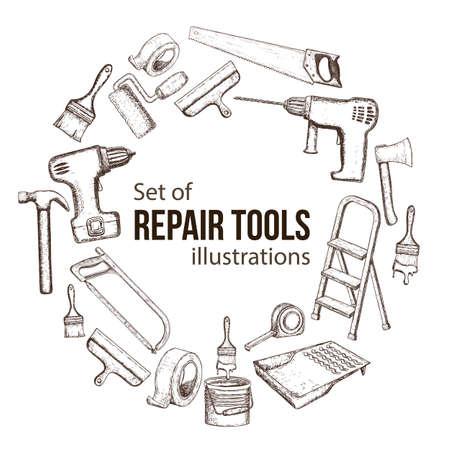 Satz Gebäudereparaturwerkzeuge, Skizzenillustration.