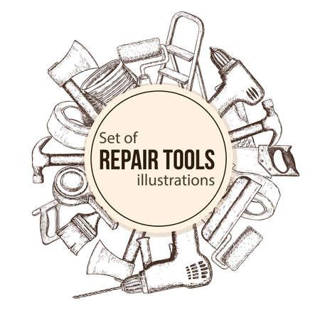 Reeks hulpmiddelen van de de bouwreparatie, schetsillustratie. Vector Illustratie