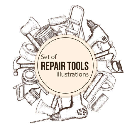Set of building repair tools, sketch illustration.