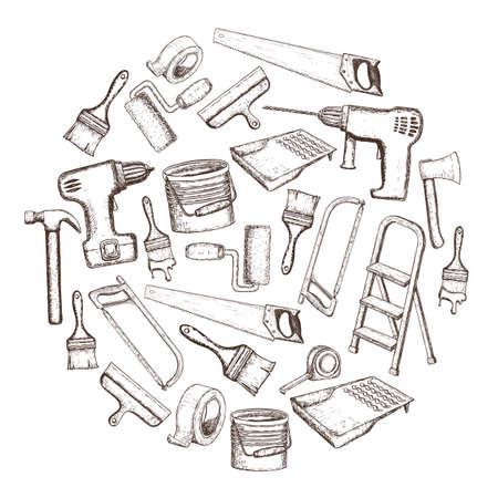 Satz Gebäudereparaturwerkzeuge, Skizzenillustration. Vektorgrafik