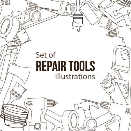 Satz Gebäudereparaturwerkzeuge Linie Karikaturillustration von Reparaturwerkzeugen. Standard-Bild - 89001668