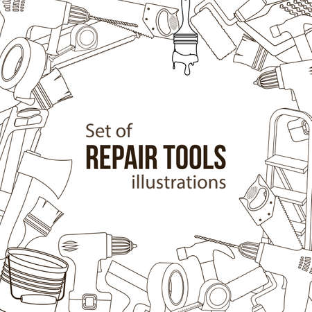 Set of building repair tools illustration. Illustration