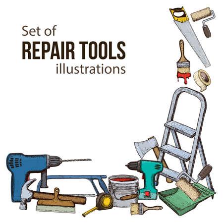 Set van reparatie tools voor gebouwen. Kleurrijke schetsillustratie van reparatiehulpmiddel.