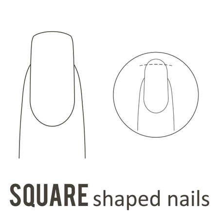 Manicure per unghie Come fare una forma quadrata delle unghie. Archivio Fotografico - 89001690